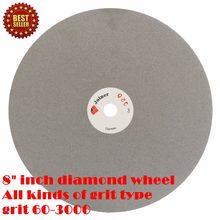 Disques abrasifs en diamant, 8 pouces, grain 200mm, 60-3000, disque de meulage, disque plat revêtu, outils lapidaires pour la pierre