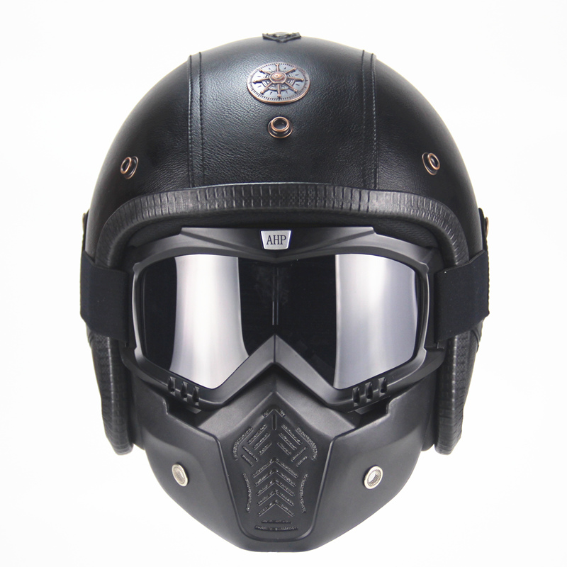 PU Leather Harley vintage Helmets 3/4 half Motorcycle Chopper Bike helmet open face motorcycle helmet with goggle mask бра artelamp a5349ap 1wh page 3