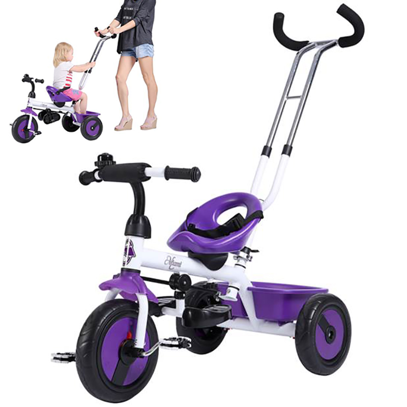 Three Wheels Stroller Dual Use Baby Trike Children Tricycle With Double Brake Kids Riding Car Trolley Cart & Removable Back Push Bar Baby Stroller s8