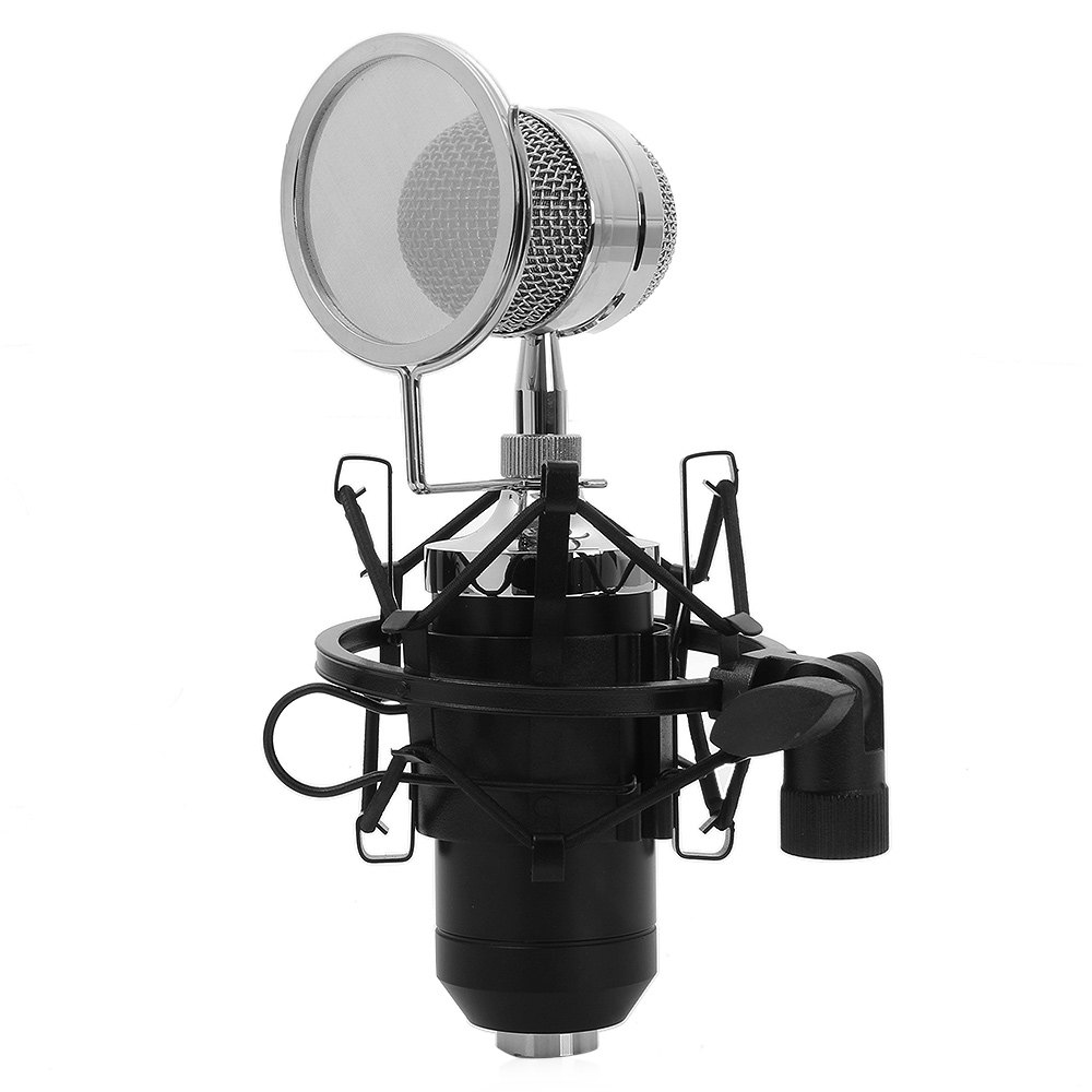 TGETH BM 8000 Sound Studio Recording Condenser Wired Microphone With 3.5mm Plug Stand Holder Pop Filter For KTV Karaoke