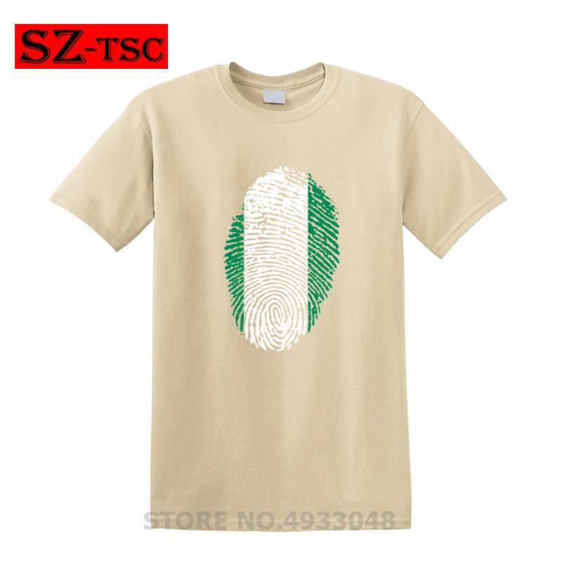 ניגריה דגל טביעות אצבע הדפסת גברים חולצה חולצות אופנה זכר 30 צבעים O-צוואר 100% כותנה Tees למעלה tshirt גברים מצחיק t חולצות