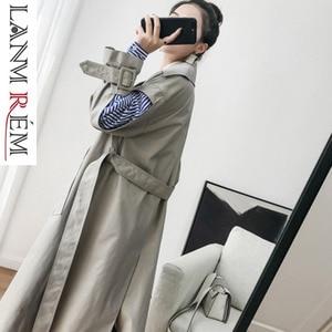 Image 2 - LANMREM 2020 ใหม่แฟชั่น womne เสื้อผ้าเกาหลีผู้หญิง Windbreaker เกาหลีกระดาษสองแขนข้อต่อ Stripe Chic หลวม WC00200L