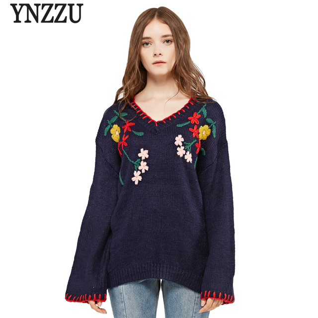 High Quality 2017 Women Sweaters and Pullovers Vintage Floral Embroidery V  Neck Loose knit Sweater Women 68a4ba98a