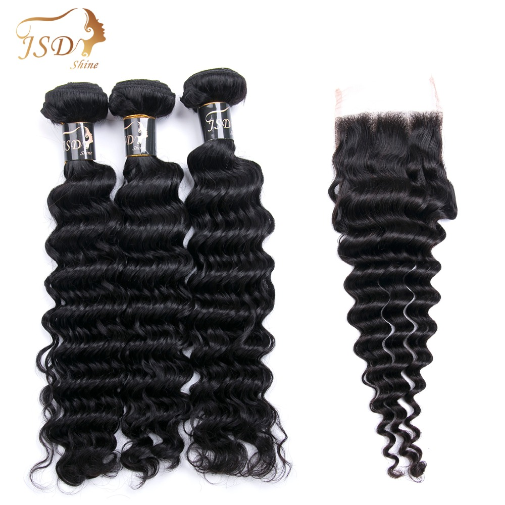 JSDshine Burmese Deep Wave Bundles With Closure 3PCS Swiss Lace Closure With Bundles Non-Remy Human Hair Bundles With Closure