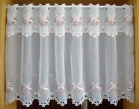 Half Curtain Embroidered Valance Partition Fashion Bow Flower Hem Curtain For Kitchen Cabinet Door Free Shipping