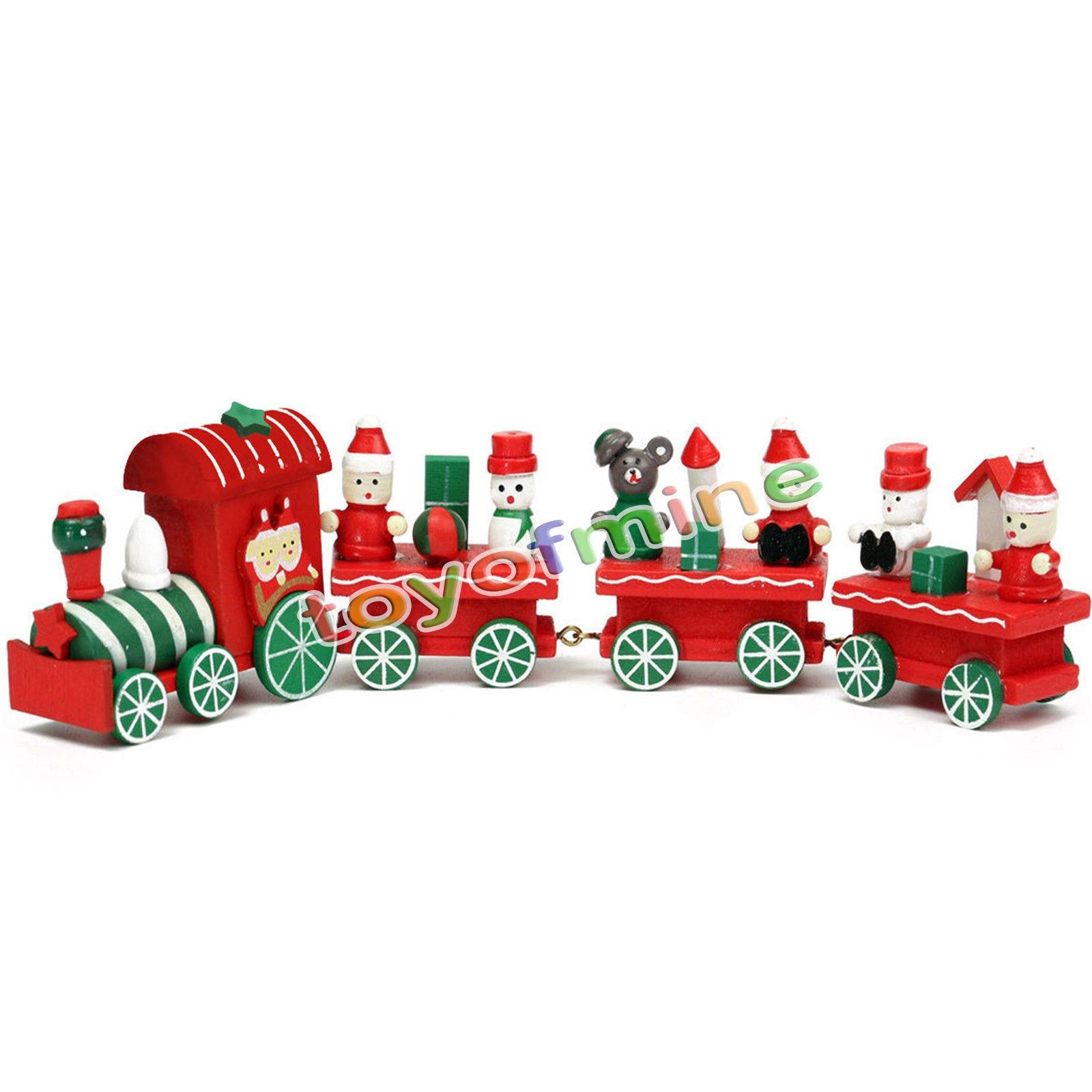 #8E1613 Kid Lovely 4 Piece Little Train Wood Christmas Train  6083 decoration de noel train electrique 1600x1600 px @ aertt.com