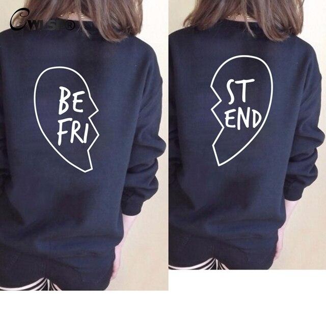7f9cc01800171 US $22.92  CWLSP Best Friends Sisters Women Sweatshirt Pullover Back Half  Heart Print Casual Hoodies Tops bts sweat women Autumn winter-in Hoodies &  ...