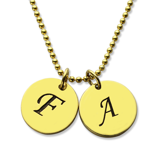 name necklace gold color personalized initial discs necklace grandma