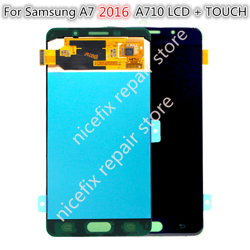 Super AMOLED For SAMSUNG GALAXY A7 2016 A710 LCD Display Touch Screen Digitizer Assembly Replacement For