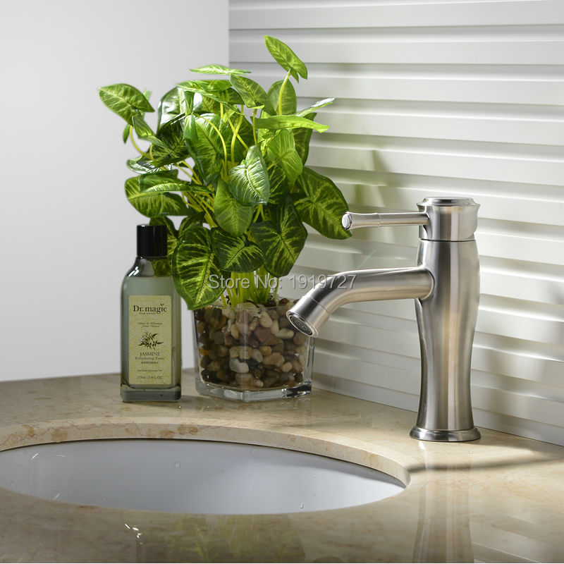 Unique Design SUS304 Stainless Steel Deck Mounted Lead Free Bathroom Sink Faucets Brushed Stain Hot And Cold Basin Mixer Tap free shipping sus 304 stainless steel faucet modern kitchen sink faucets brushed basin mixer hot and cold kf350
