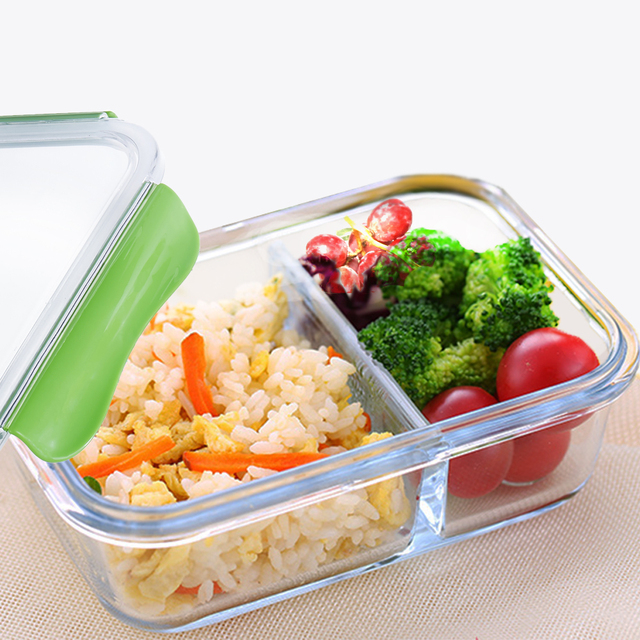 high quality glass lunch box food container with compartments