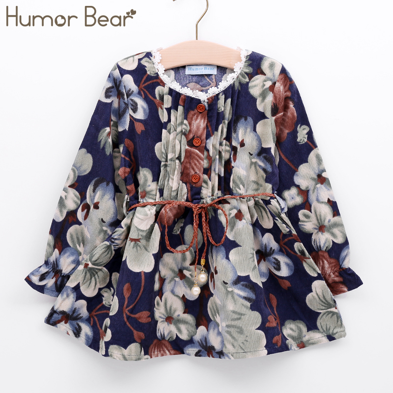 Humor Bear Girls Dress New Autumn Style Girls Clothes Long Sleeve Casual Girls Clothing Children Dress Printed Cute Dress 3-7Y keelorn autumn girls dress 2017 new casual style girls clothes long sleeve striped mesh design dress for kids clothes 3 7y