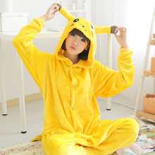 Long Sleeved Cute Animal Picacho Pajamas For Women Man Adult Pijama Unicornio Conjoined Flannel Sleep Suit Yellow Color