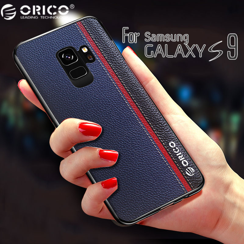 For Samsung Galaxy S9 Case Tricolor Genuine Leather ORICO Metal LOGO Car Magnetic Original Back Cover for SAMSUNG S9 Plus Case