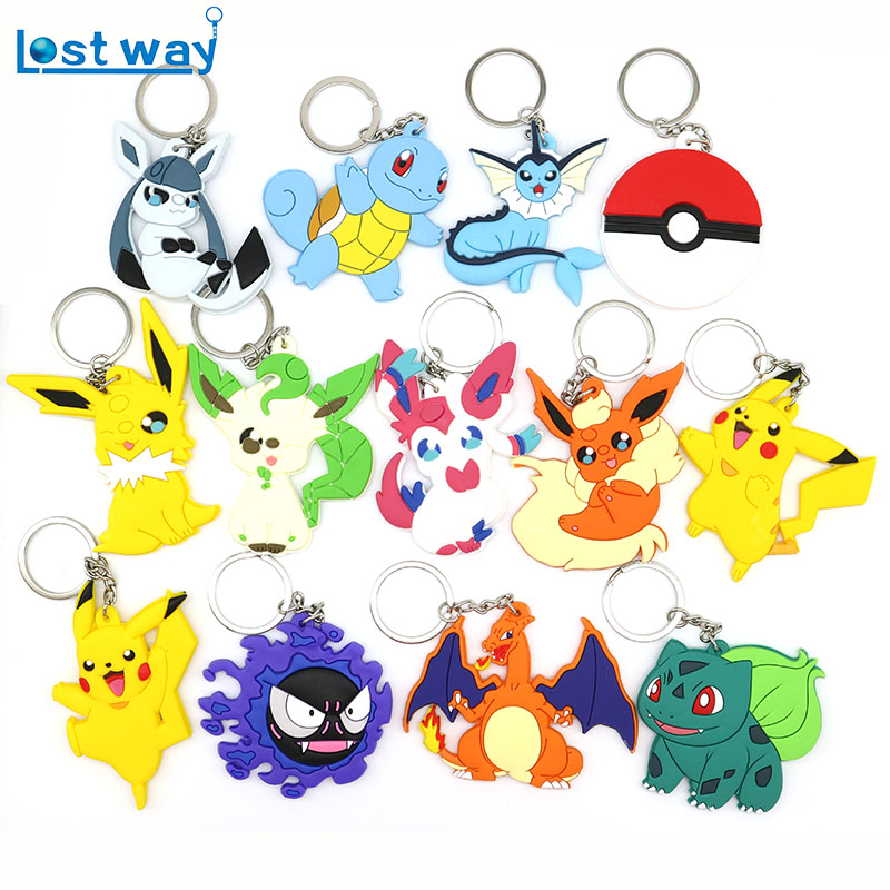 15pcs Pocket Monsters Key Chains Pikachu Squirtle Psyduck Figure Pokemon go Keychain Pendant Fit Bag Car Keyring ...