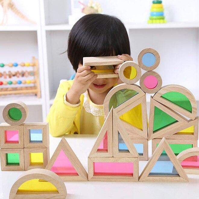 Arcylique arc-en-ciel en bois blocs de construction enfance précoce éducatif Montessori jouets enfants cadeau
