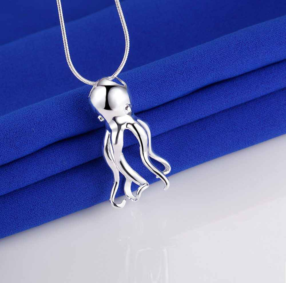 octopus animal silver plated Necklace New Sale silver necklaces & pendants /LCMLKAVY BZMFYWXV