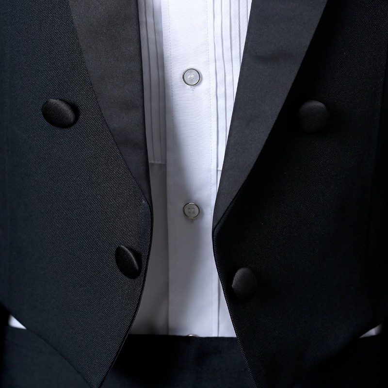 wedding : PYJTRL England Gentleman Two-piece Black White Groom Cheap Wedding Tuxedos Suits For Men Classic Tail Coat With Pants Slim Fit