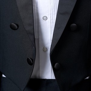 Image 3 - PYJTRL England Gentleman Two piece Black White Groom Cheap Wedding Tuxedos Suits For Men Classic Tail Coat With Pants Slim Fit