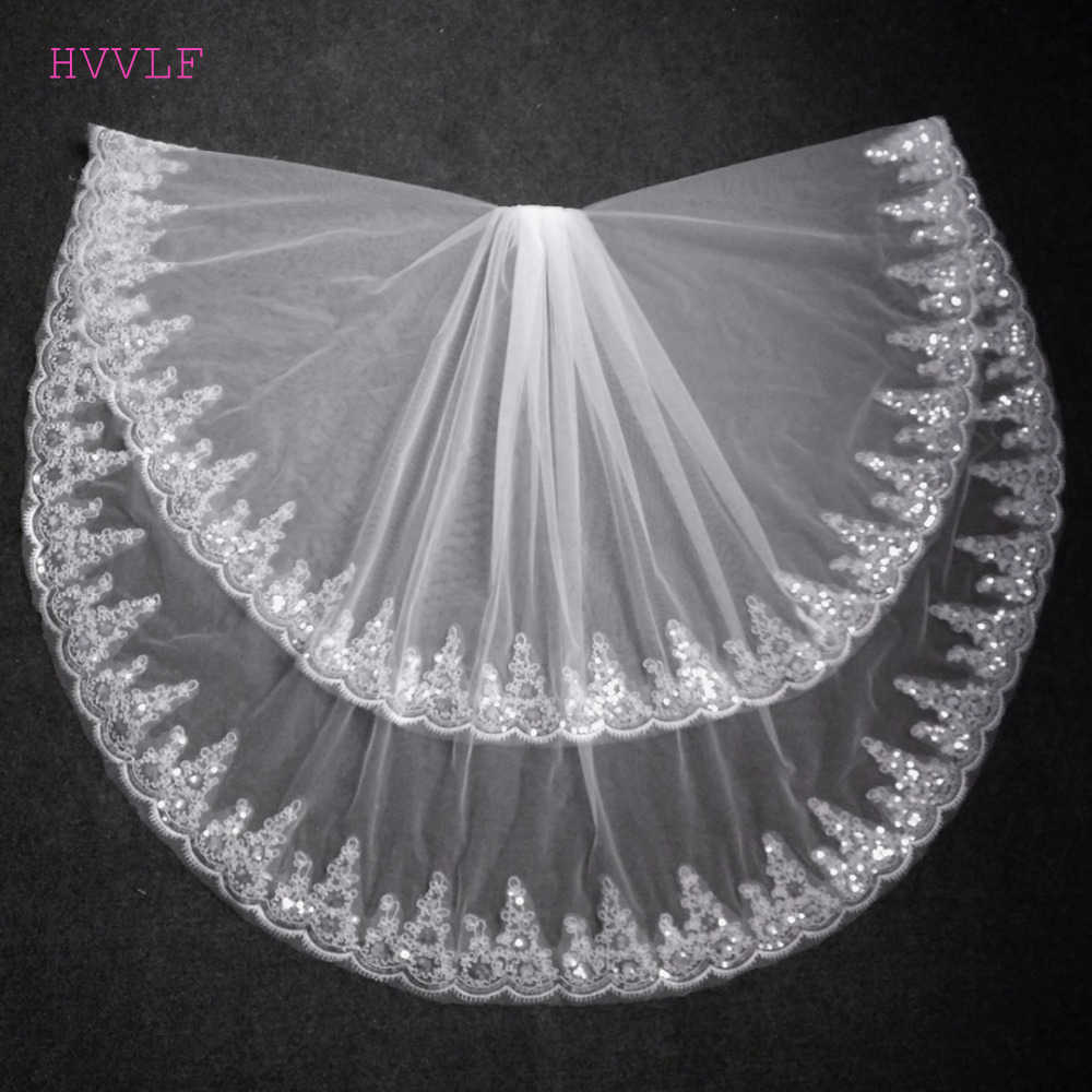 Fashion Two Layer Bridal Veil White Ivory Tulle Wedding Veil With Comb Lace Edge Wedding Accessories Bridal Veils