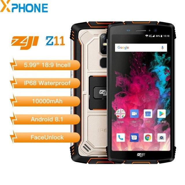 "HOMTOM ZOJI Z11 IP68 Waterproof Mobile Phone 4GB 64GB 10000mAh 5.99"" 18:9 MTK6750T Octa Core Face Unlock 4G Android 8.1 Phone"