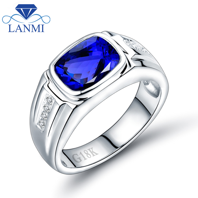 Men's Rings Tanzanite Genuine Gemstone Jewelry Diamond Engagement Wedding Natural Solid Gold