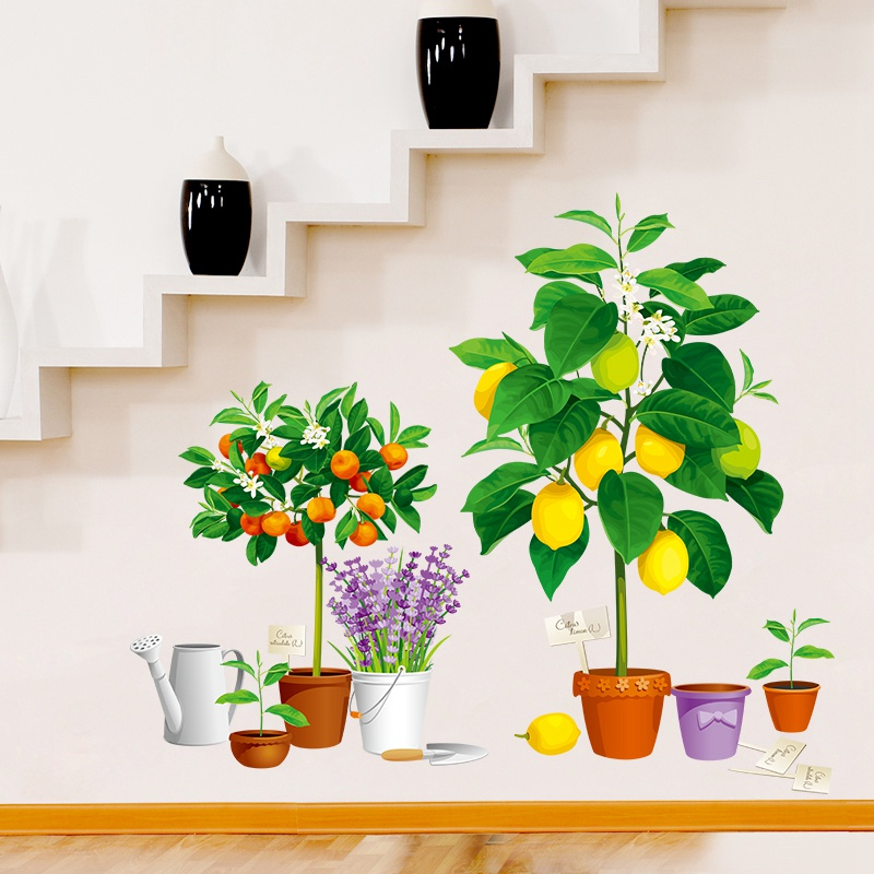 Creativity Fruit Flower Pot Wall Stickers For Bedroom Nursery Living Room Corridor Corner Poster Home Decal Art Mural Decor