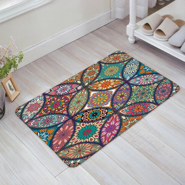 Colorful Medallion Mandala with Leaf Flower Figures Print Doormat ...