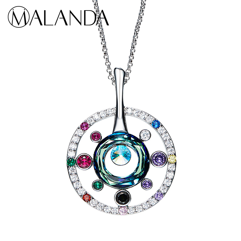 MALANDA Brand New Fashion Long Chain Big Disk Necklaces For Women Colorful Crystal From Swarovski Necklaces Body Wedding Jewelry