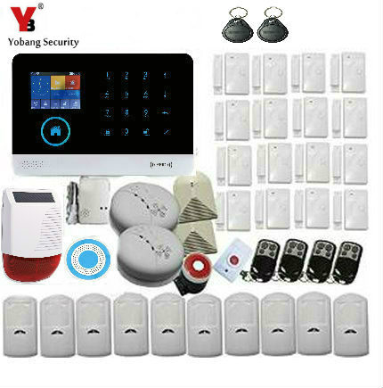 YobangSecurity Wireless Wifi GSM GPRS Rfid Home Security Alarm System with Auto Dial+Solar Power Outdoor Siren,Smoke Detector yobangsecurity wireless wifi gsm gprs rfid home security alarm system smart home automation system pet friendly immune detector