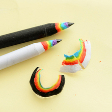 Wooden Pencil Stationery-Set Pack Prize-Supplies Drawing-Gift Rainbow White Black School