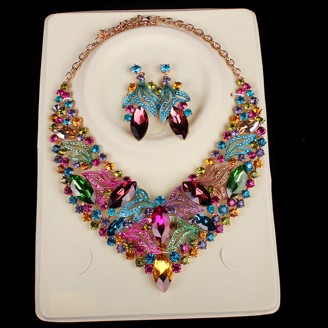 Luxury Gold Plated Multicolor Jewelry Set
