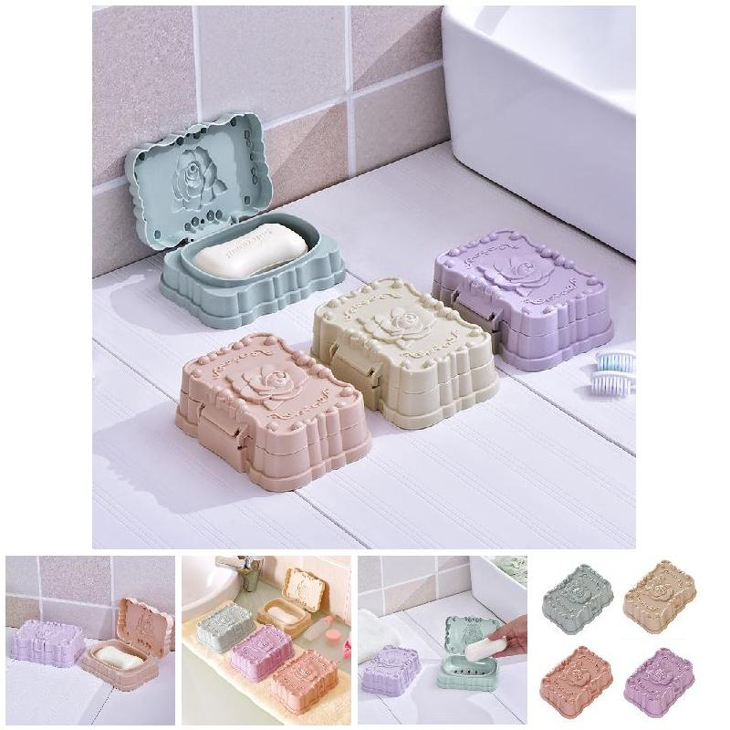 Bathroom Shower Soap Box Dish Tray Plate Rose Flower Holder Case Container with Lid Hot Sale