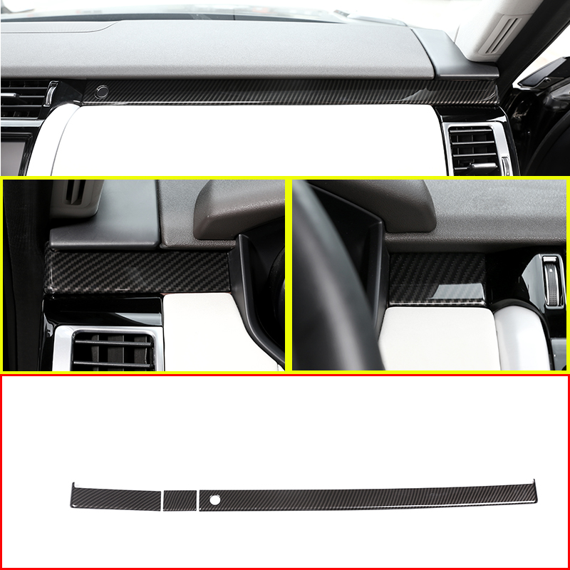 3PCS Carbon fiber Style ABS Plastic Co-pilot Decorate Strips Trim For Land Rover Discovery 5 LR5 2017 2018 L462 Auto Accessories accessories for chevrolet camaro 2016 2017 abs carbon fiber style the co pilot central control strip molding cover kit trim page 8