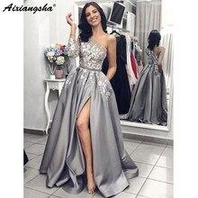 c0599e55fa Szary Satin suknia wieczorowa 2019 linii Sexy podział biały koronki balu długie  suknie z kieszeniami jedno · 2 dostępne kolory