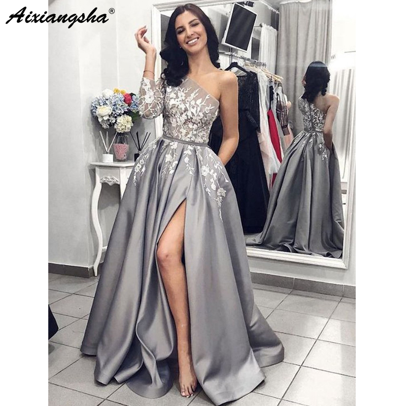 Grey Satin Evening Gown 2019 A-Line Sexy Split White Lace Long   Prom     Dresses   with Pockets One Shoulder Long Sleeves   Prom     Dress
