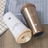 500ml Cat Design Thermos Coffee Mugs Bottle For Tea Vacuum Flask Thermocup Double Wall Stainless Steel