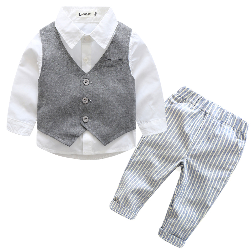 Gentleman Baby Boy Clothes 2016 Fashion Stars Printing Clothing Set For Newbron Baby Kids Long Sleeve T Shirt +Vest +Pant