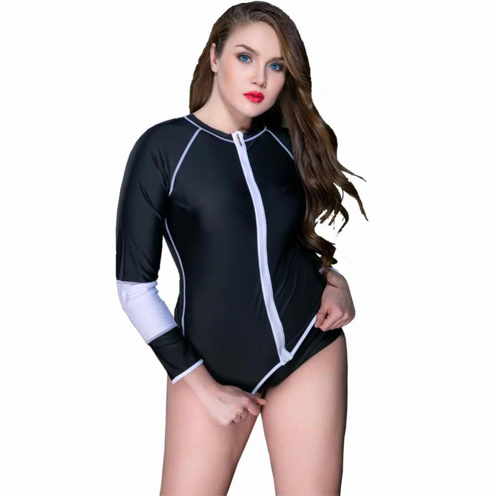 a9bbcdd98804c 2017 New Women Swimsuits Long Sleeve Swim Shirts Anti UV Tops Zipper Plus  Size beach diving