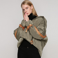 Hooded Cotton Padded Clothes Women Pockets Zippers 2 Colors Loose Thick Coat Long Sleeve High Street