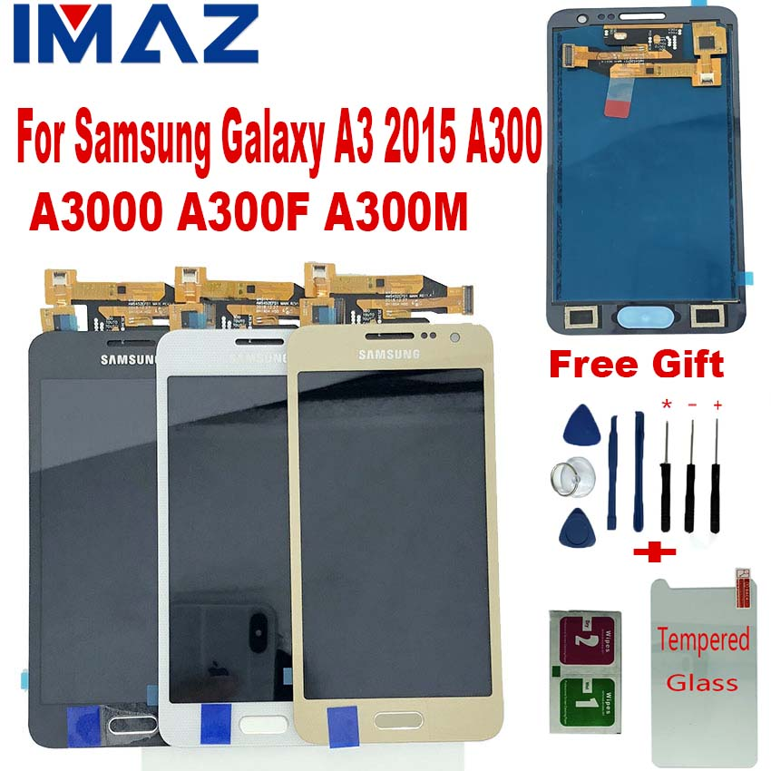 IMAZ Adjust Brightness LCD For Samsung Galaxy A3 2015 A300 A3000 A300F A300M LCD Display+Touch Screen Digitizer Assembly+Button