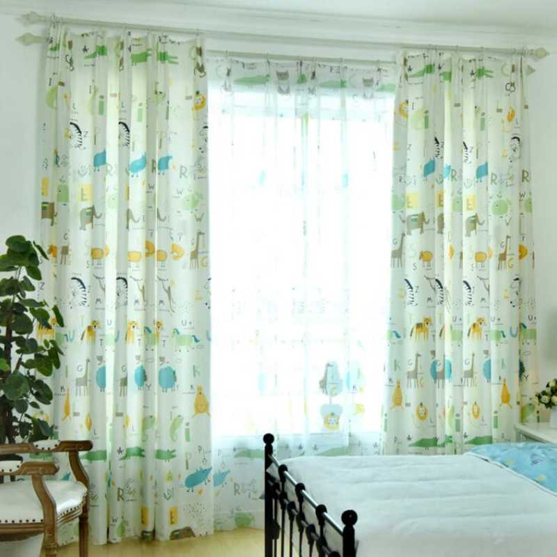 Simple Modern Nordic Green Sheer Panels Personality Curtains For Living Room Pink Animal Park Cartoon Children Curtain AP213-30