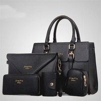 Fashion Women 5 Piece/set Handbag Purse Set Classic Messenger Bag Imitation Leather Shoulder Bag 6 Colors Ladies PU Bag ER966372
