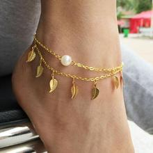 Free shipping! Wholesale Gold plated leave pendant Simulated pearl double chain  Anklets bracelets. Smart bangles jewelry