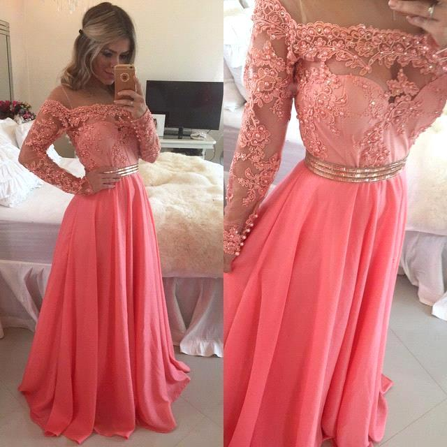 New Fashion Sheer Neck Beaded Pink Off The Shoulder Long   Prom     Dresses   2019 With Long Sleeves Formal   Prom   Party   Dresses   Custom