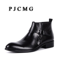 PJCMG High Quality Men Black/Red Slip On Ankle Waterproof Rubber Vintage Genuine Leather Formal Business Office Men Boots