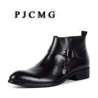 PJCMG High Quality Men Black/Red Slip On Ankle Waterproof Rubber Vintage Genuine Leather Formal Business Office Men Boots