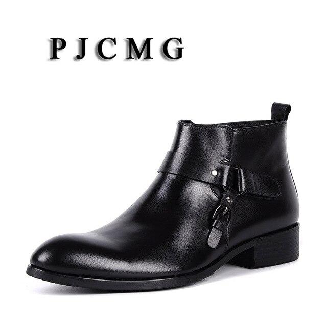 PJCMG yüksek kalite erkekler siyah/kırmızı Slip-On ayak bileği su geçirmez kauçuk Vintage hakiki deri resmi iş ofis erkekler çizmeler