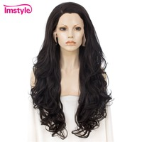 Imstyle Natural Black Lace Front Synthetic Wig Long Hair Wavy Wigs For Women Heat Resistant Fiber Glueless 26 inch Daily Wig