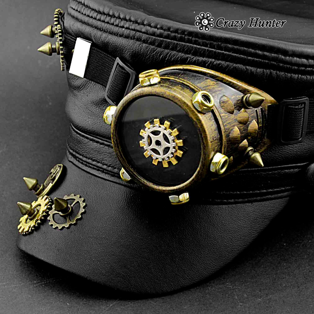 Men's Steampunk Gear Goggle Black Hat Vintage Real Leather Cap